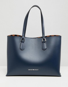 Кожаная сумка-тоут Emporio Armani - Темно-синий