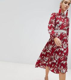 Платье миди с открытой спиной и кружевной отделкой Boohoo - Красный