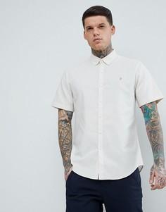 Светло-бежевая узкая оксфордская рубашка с коротким рукавом Farah - Бежевый
