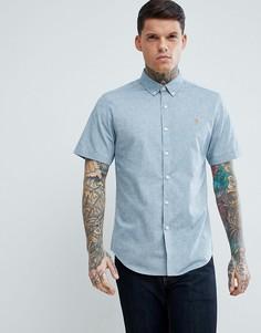 Серая фактурная оксфордская рубашка узкого кроя с короткими рукавами Farah Steen - Серый