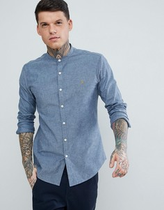 Синяя узкая фактурная рубашка с воротником на пуговице Farah Steen - Синий