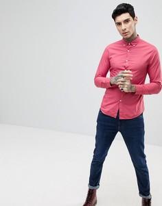 Розовая узкая рубашка на пуговицах Farah Farley - Розовый