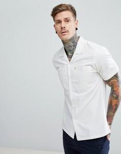 Бежевая рубашка с отложным воротником и короткими рукавами Farah Gretton - Бежевый