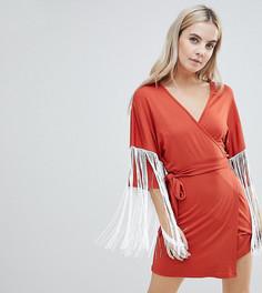 Платье мини с запахом и бахромой ASOS PETITE - Красный