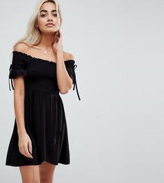 Летнее платье с открытыми плечами ASOS PETITE - Черный