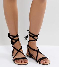 Плетеные сандалии с завязками ASOS FAYLA - Черный