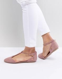 Туфли на плоской подошве с Т-образными ремешками New Look - Розовый
