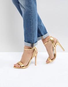 Золотистые босоножки на каблуке с эффектом металлик Public Desire - Золотой