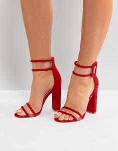 Красные босоножки на блочном каблуке с прозрачными ремешками Public Desire Mission - Красный