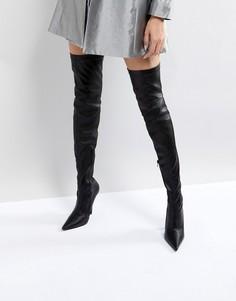 Черные ботфорты на высоком каблуке Public Desire - Черный