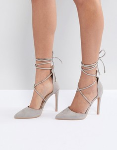 Серые туфли-лодочки с завязками Public Desire Aries - Серый