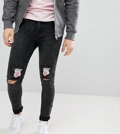 Рваные джинсы скинни с вышивкой Liquor N Poker - Черный
