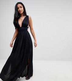 Пляжное платье макси в греческом стиле с глубоким вырезом ASOS PETITE - Черный