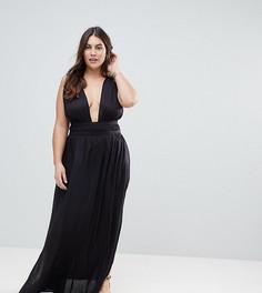 Пляжное платье макси с глубоким вырезом ASOS CURVE - Черный