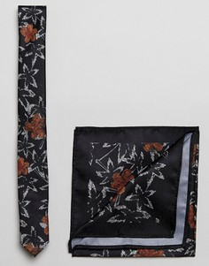 Черные галстук и платок для нагрудного кармана с цветочным принтом ASOS - Черный