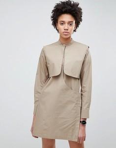 Платье-рубашка мини ASOS WHITE - Светло-бежевый