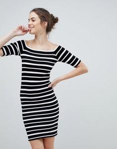 Облегающее платье в полоску с открытыми плечами Lipsy - Мульти