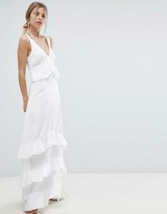 Платье макси с оборками и кружевными вставками Y.A.S - Белый