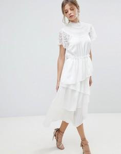 Кружевное платье миди с асимметричным краем Y.A.S - Белый