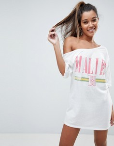 Пляжная футболка с октрытыми плечами ASOS Malibu - Мульти