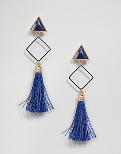 Броские серьги-подвески с кисточками Ashiana - Синий
