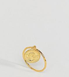 Винтажное кольцо из позолоченного серебра с подвеской-монетой ASOS - Золотой