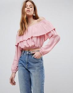 Кроп-топ с оборкой Glamorous - Розовый