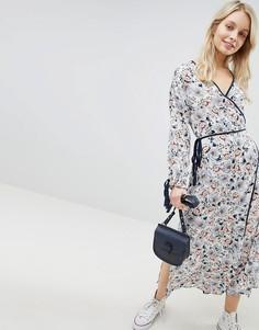 Платье миди с запахом и цветочным принтом Glamorous - Белый