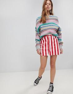 Джинсовая мини-юбка в контрастную полоску Glamorous - Красный