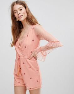 Ромпер с присборенными манжетами и сетчатыми рукавами Glamorous - Розовый