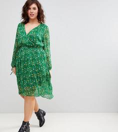 Платье миди с цветочным принтом и вырезом на спине Boohoo Plus - Мульти