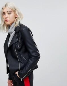 Байкерская куртка из искусственной кожи Only - Черный