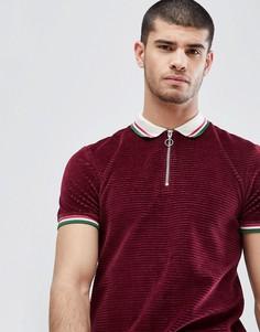 Вельветовая футболка-поло ASOS - Красный