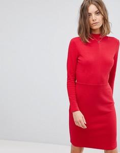 Облегающее платье с высоким воротом Esprit - Красный