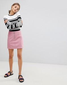 Мини-юбка А-силуэта из искусственной замши Esprit - Розовый