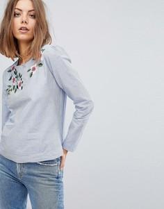 Блузка в полоску с вышивкой Esprit - Синий
