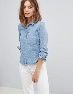 Джинсовая рубашка в горошек Esprit - Синий
