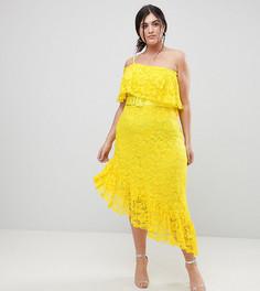 Кружевное асимметричное платье миди на одно плечо с поясом ASOS CURVE - Желтый