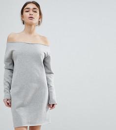 Трикотажное платье с открытыми плечами и необработанными краями ASOS PETITE - Серый