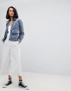 Брюки в полоску с широкими штанинами Vero Moda - Белый