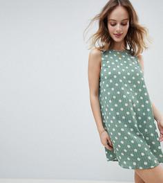 Свободное платье в горошек без рукавов с поясом Glamorous Petite - Зеленый