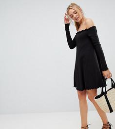 Платье мини в рубчик с открытыми плечами ASOS TALL - Черный