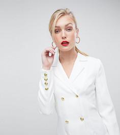 Платье-смокинг с плиссировкой Missguided Tall - Белый