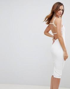 Платье миди с открытой спиной и квадратным вырезом ASOS - Белый