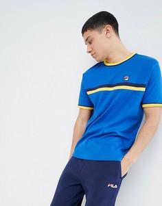 Синяя футболка с полосками и контрастной отделкой Fila Vintage - Синий