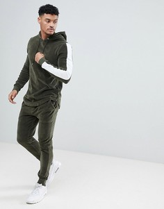 Велюровый спортивный костюм цвета хаки из обтягивающего худи и супероблегающих джоггеров с полосками ASOS - Бежевый