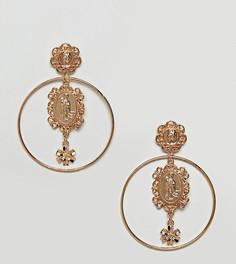 Серьги-кольца с подвеской Reclaimed Vintage Inspired - Золотой