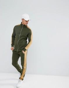 Зеленый зауженный спортивный костюм колор блок boohooMAN - Зеленый