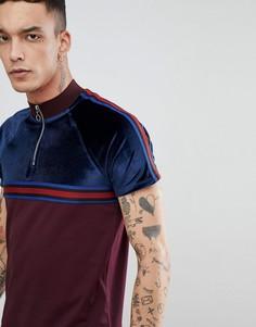 Велюровая футболка с молнией, рукавами реглан и отделкой лентой ASOS - Красный