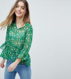 Блузка с оборками и цветочным принтом Boohoo Petite - Мульти